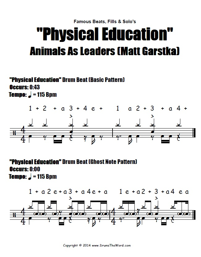 Physical Education (Animals As Leaders) - Drum Beat Notation
