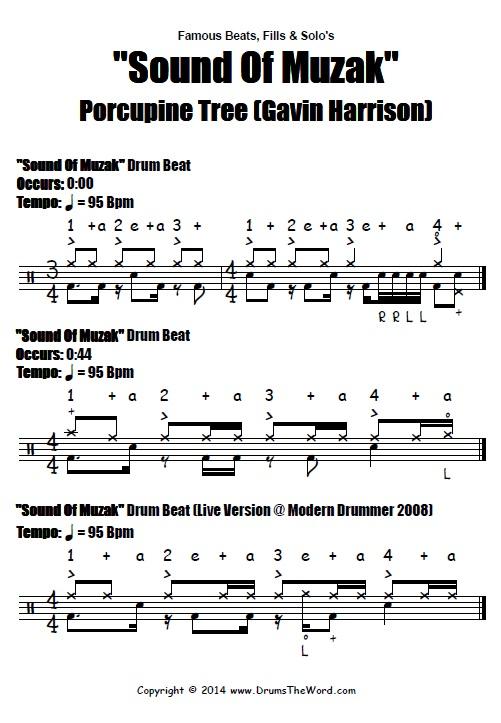 Sound Of Muzak Beat Notation (Gavin Harrison & Porcupine Tree)