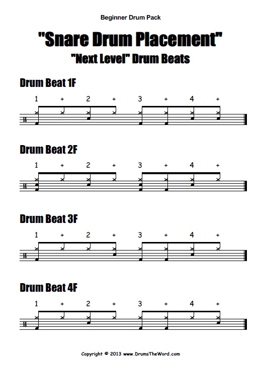 Beginner Video Drum Pack PDF Help Sheet
