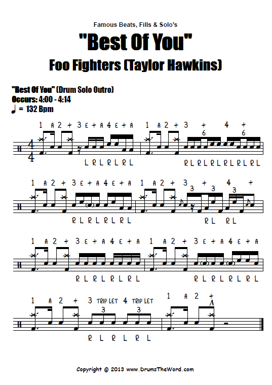 Best Of You Foo Fighters Drum Solo Score Chart