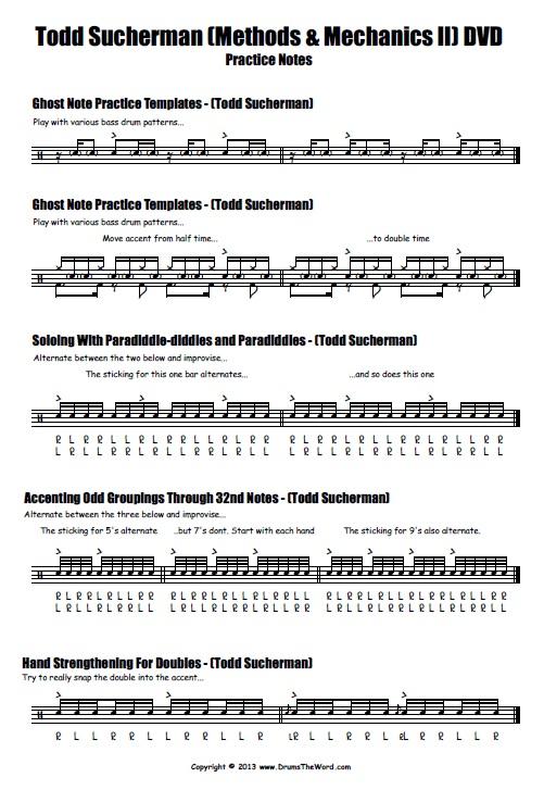 "Todd Sucherman ""Methods & Mechanics II"" Drum Pracitce Notes (Page 1)"