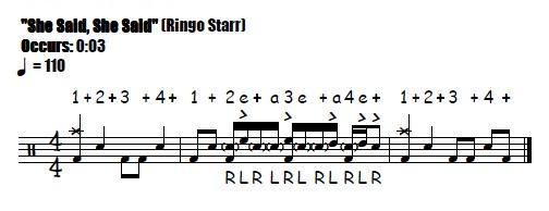 She Said, She Said Fill 0:03 Beatles & Ringo Starr - Drum Fill Transcription
