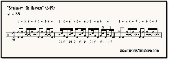 Stairway To Heaven Drum Fill Notation (John Bonham & Led Zeppelin)