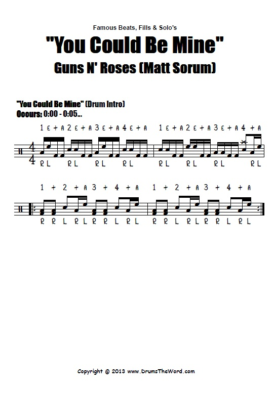 You Could Be Mine Guns N Roses Drum Fill Intro Score Chart