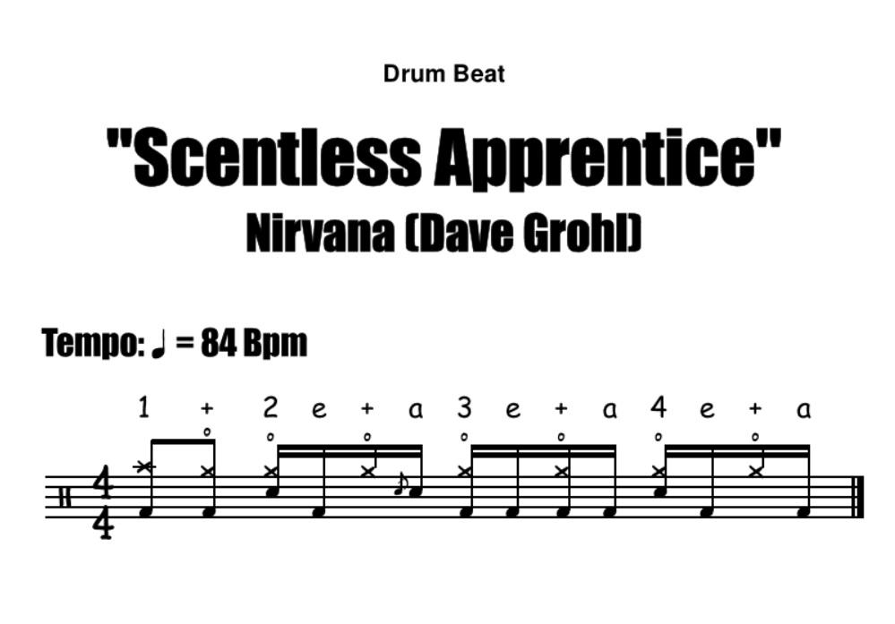 """Scentless Apprentice"" - (Nirvana) Drum Beat Video Drum Lesson Notation Chart Transcription Sheet Music Drum Lesson"