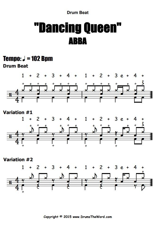"""Dancing Queen"" - (ABBA) Drum Beats Video Drum Lesson Notation Chart Transcription Sheet Music Drum Lesson"
