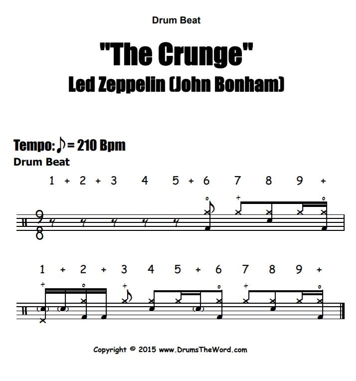 """The Crunge"" - (Led Zeppelin) Drum Beat Video Drum Lesson Notation Chart Transcription Sheet Music Drum Lesson"