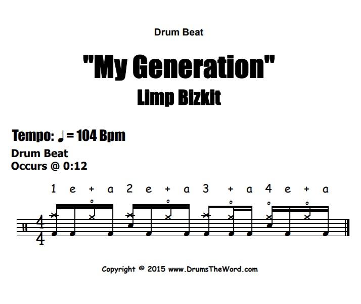 """""""My Generation"""" - (Limp Bizkit) Drum Beat Video Drum Lesson Notation Chart Transcription Sheet Music Drum Lesson"""