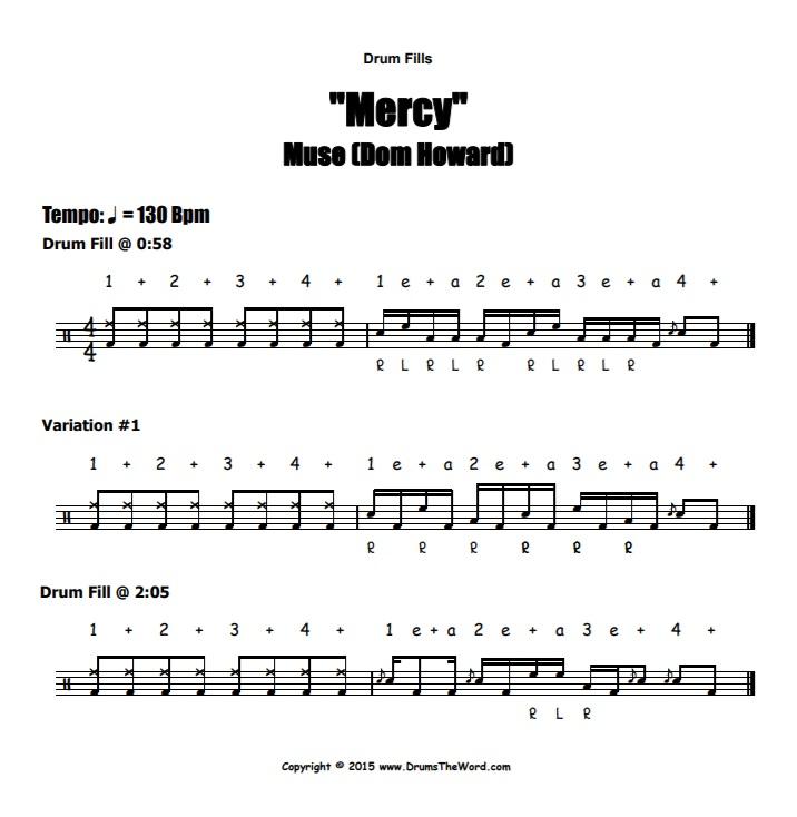 """Mercy"" - (Muse) Drum Fills Video Drum Lesson Notation Chart Transcription Sheet Music Drum Lesson"