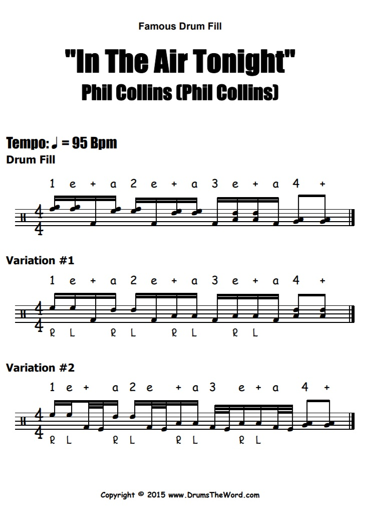 """""""In The Air Tonight"""" - (Phil Collins) Drum Fills Video Drum Lesson Notation Chart Transcription Sheet Music Drum Lesson"""