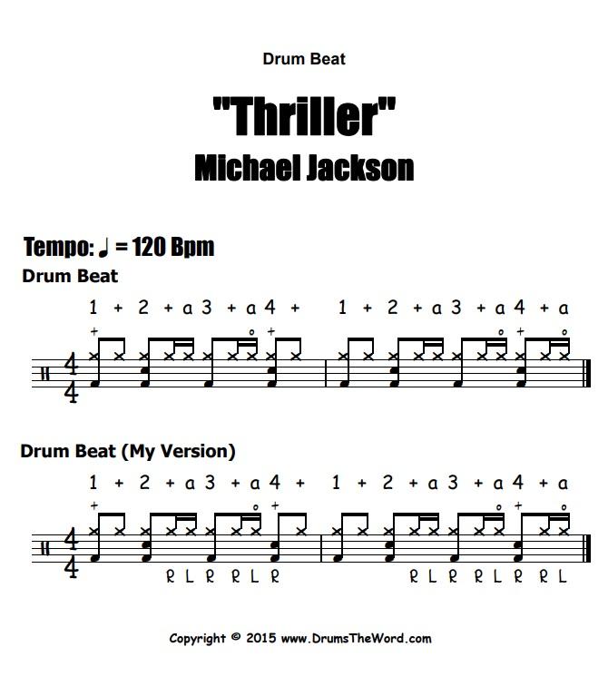 """Thriller"" - (Michael Jackson) Drum Beat Video Drum Lesson Notation Chart Transcription Sheet Music Drum Lesson"