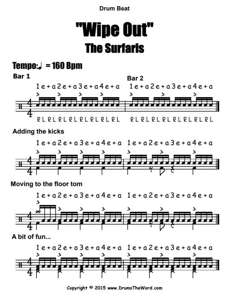 """Wipe Out"" - (The Surfaris) Drum Beat Video Drum Lesson Notation Chart Transcription Sheet Music Drum Lesson"