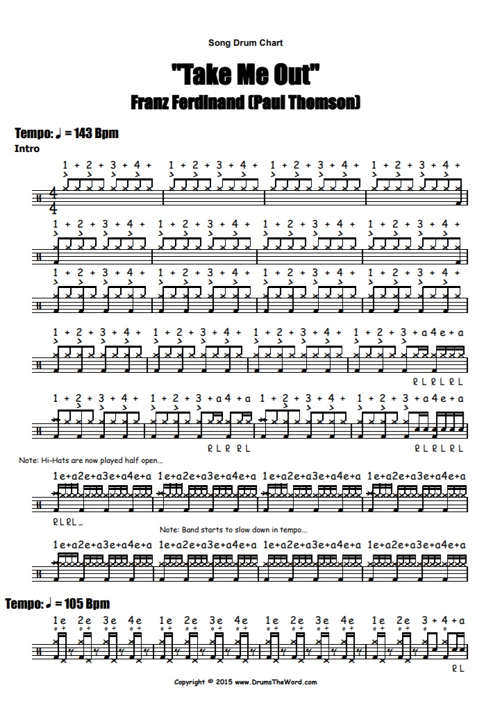 """""""Take Me Out"""" - (Franz Ferdinand) Full Song Video Drum Lesson Notation Chart Transcription Sheet Music Drum Lesson"""
