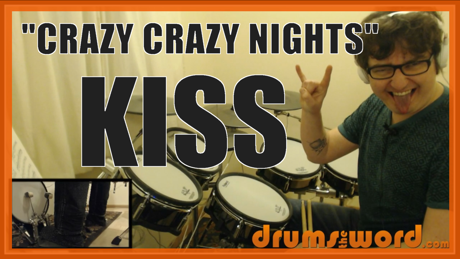 """""""Crazy Crazy Nights"""" - (Kiss) Full-Song Video Drum Lesson Notation Chart Transcription Sheet Music Drum Lesson"""