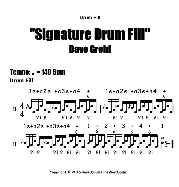 """Dave Grohl"" - (Signature Lick) Drum Solo Video Drum Lesson Notation Chart Transcription Sheet Music Drum Lesson"