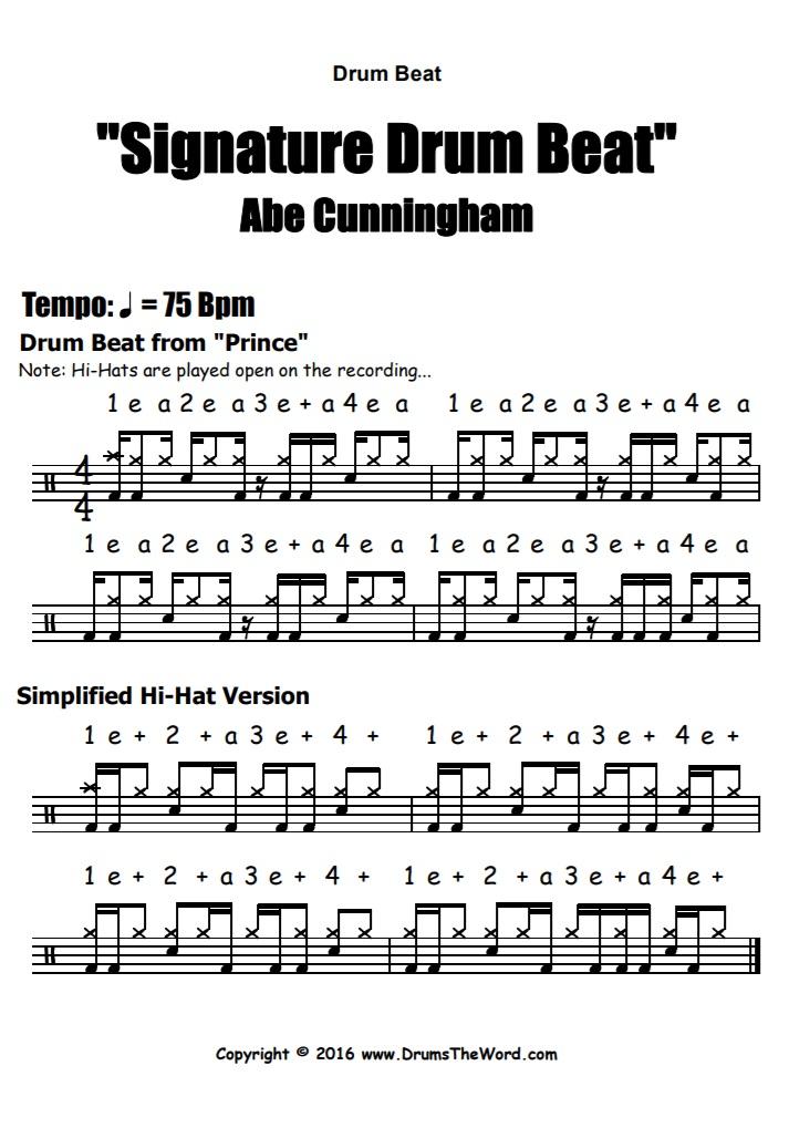 """Abe Cunningham"" - (Signature Lick) Drum Beat Video Drum Lesson Notation Chart Transcription Sheet Music Drum Lesson"