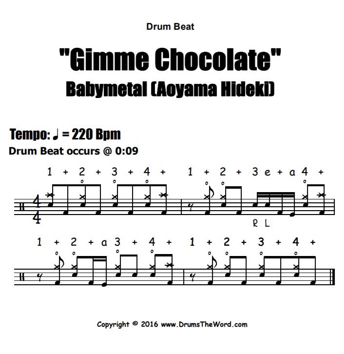 """Gimme Chocolate"" - (Babymetal) Drum Beat Video Drum Lesson Notation Chart Transcription Sheet Music Drum Lesson"