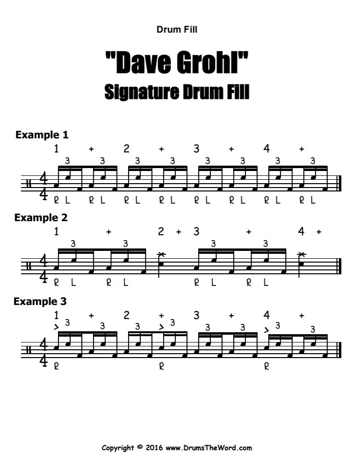 """""""Dave Grohl"""" - (Signature Lick) Drum Fill Video Drum Lesson Notation Chart Transcription Sheet Music Drum Lesson"""