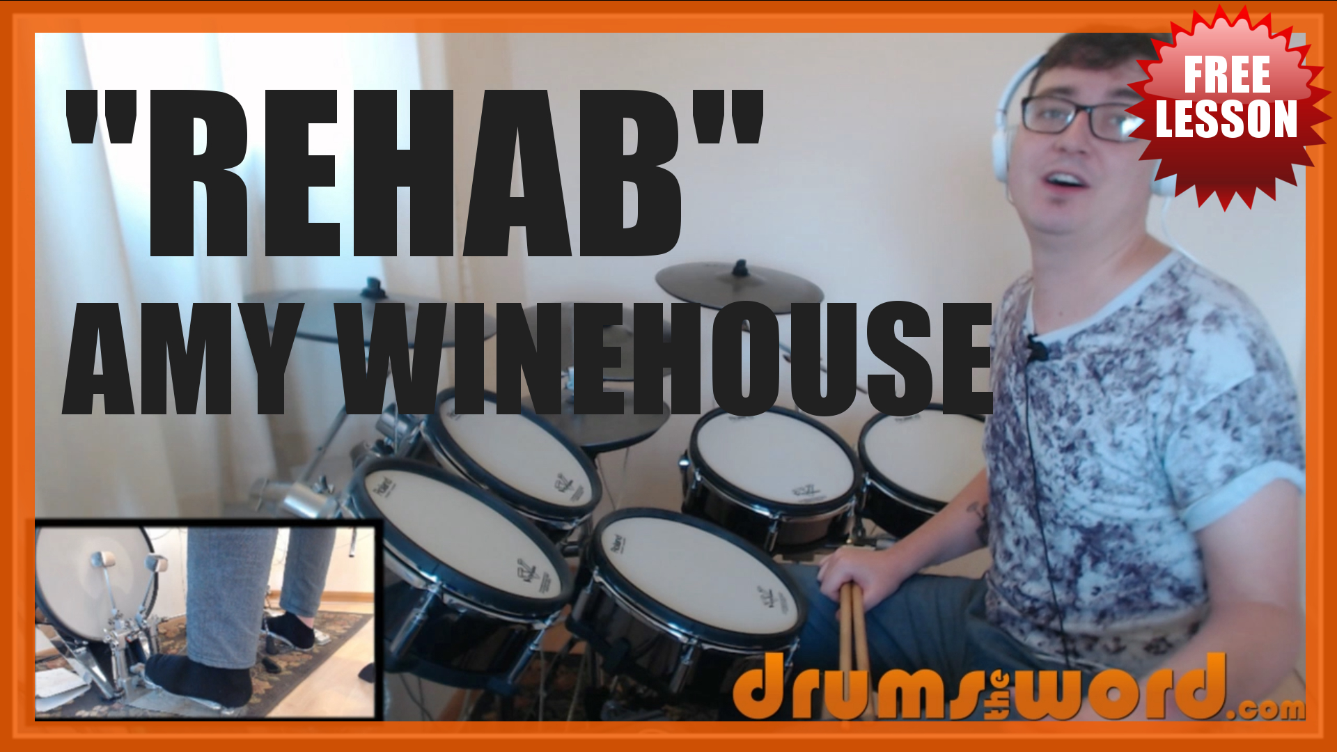 """Rehab"" - (Amy Winehouse) Full-Song Video Drum Lesson Notation Chart Transcription Sheet Music Drum Lesson"