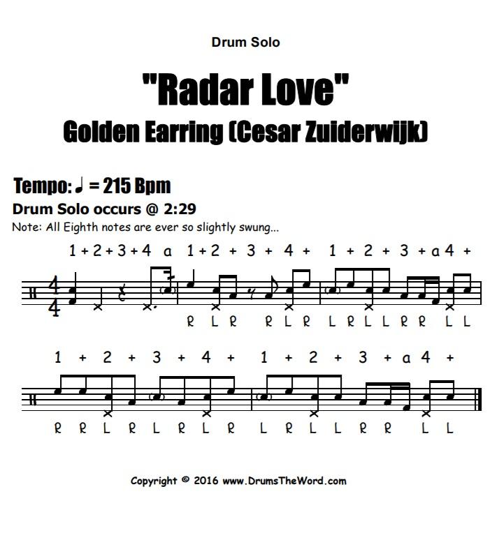 """Radar Love"" - (Golden Earring) Drum Solo Video Drum Lesson Notation Chart Transcription Sheet Music Drum Lesson"