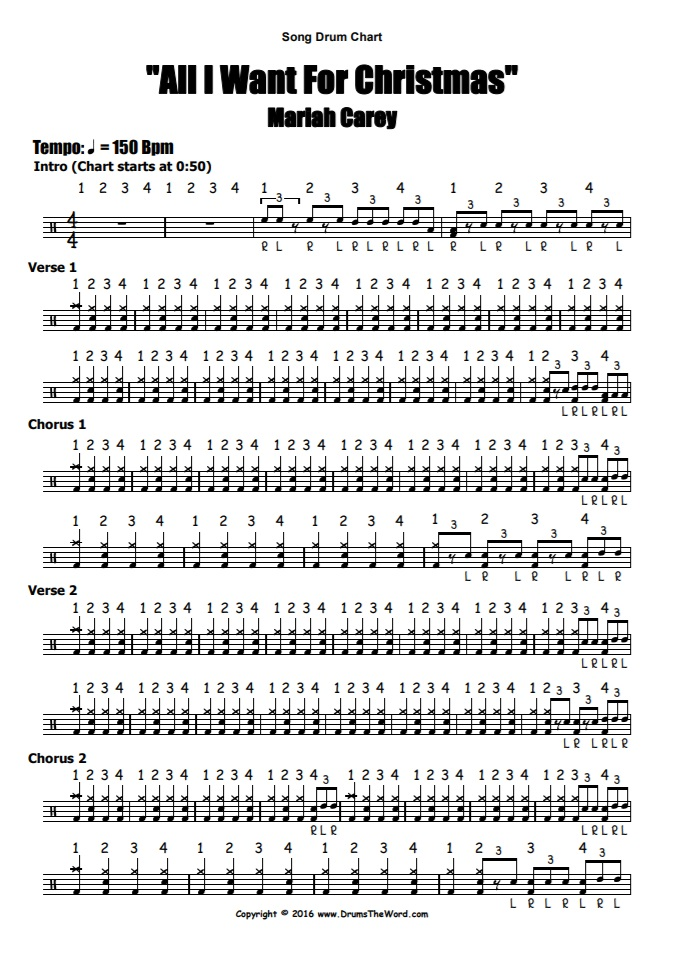"""""""All I Want For Christmas"""" - (Mariah Carey) Full Song Video Drum Lesson Notation Chart Transcription Sheet Music Drum Lesson"""