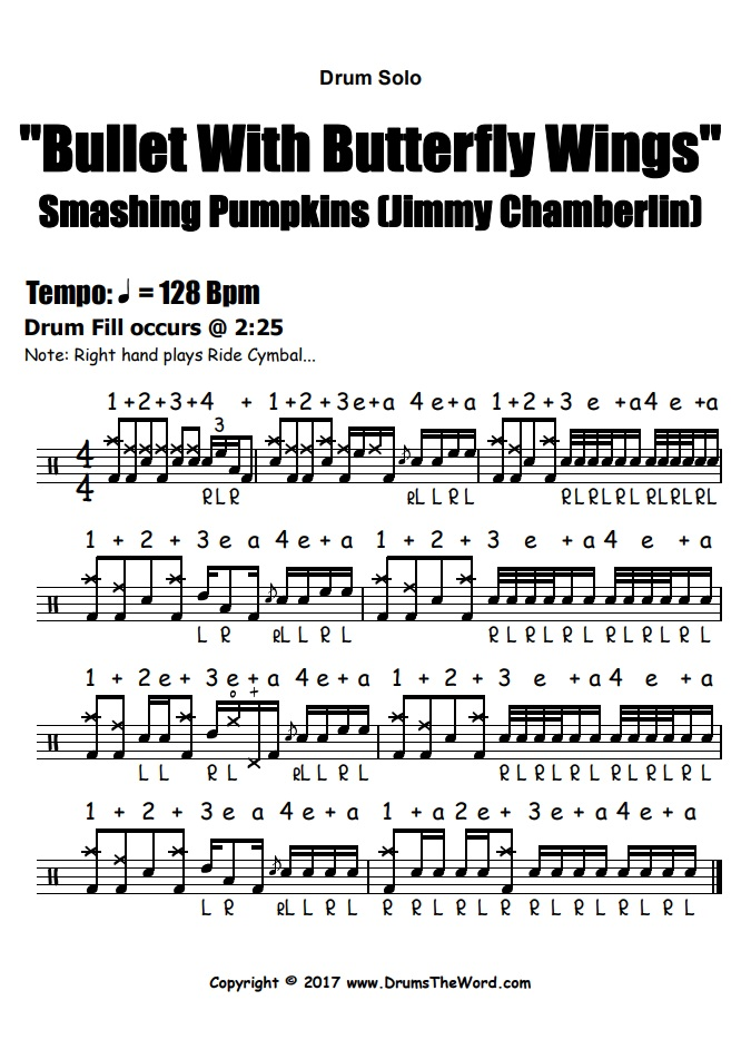 """""""Bullet With Butterfly Wings"""" - (Smashing Pumpkins) Drum Solo Video Drum Lesson Notation Chart Transcription Sheet Music Drum Lesson"""