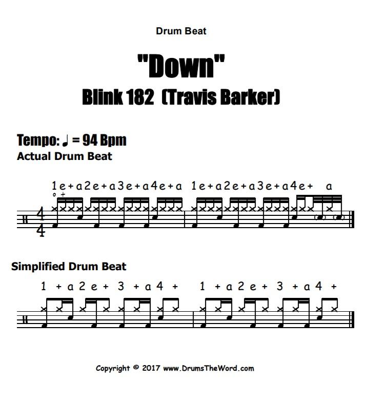 """""""Down"""" - (Blink 182) Drum Beat Video Drum Lesson Notation Chart Transcription Sheet Music Drum Lesson"""