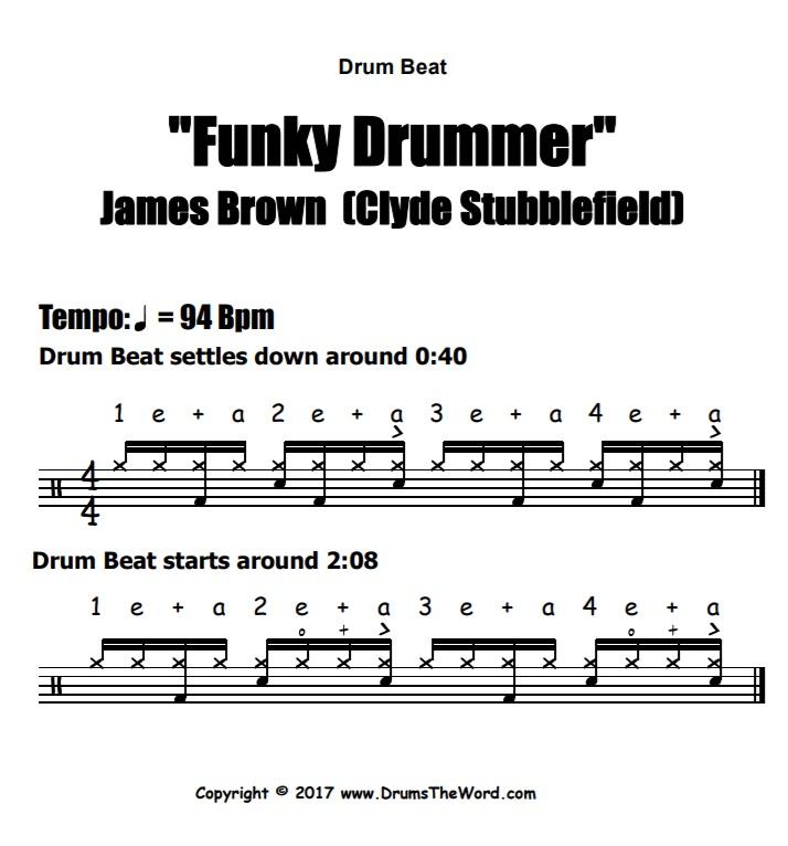 """Funky Drummer"" - (James Brown) Drum Beat Video Drum Lesson Notation Chart Transcription Sheet Music Drum Lesson"