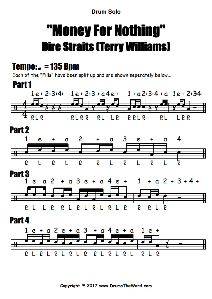 """Money For Nothing"" - (Dire Straits) Drum Solo Fill Video Drum Lesson Notation Chart Transcription Sheet Music Drum Lesson"