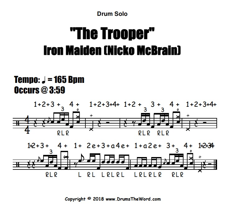 """""""The Trooper"""" - (Iron Maiden) Drum Solo Fill Video Drum Lesson Notation Chart Transcription Sheet Music Drum Lesson"""