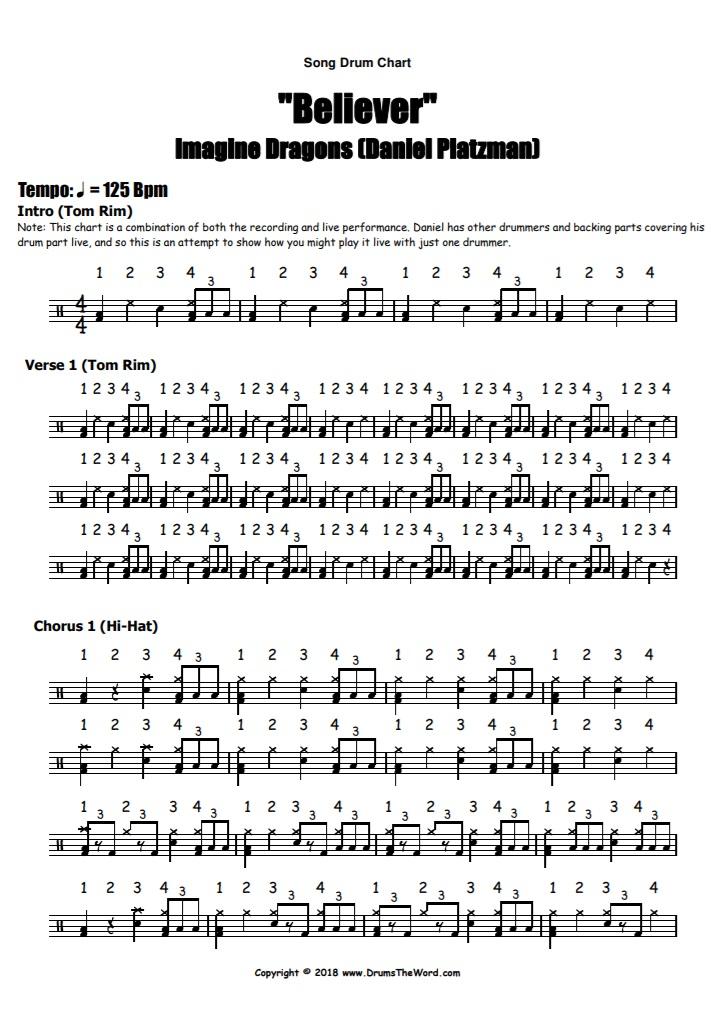 """Believer"" - (Imagine Dragons) Full Song Video Drum Lesson Notation Chart Transcription Sheet Music Drum Lesson"