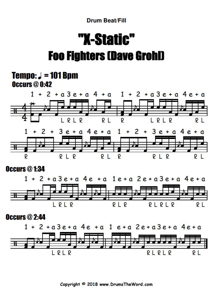 """""""X-Static"""" - (Foo Fighters) Drum Beat Fill Lick Video Drum Lesson Notation Chart Transcription Sheet Music Drum Lesson"""