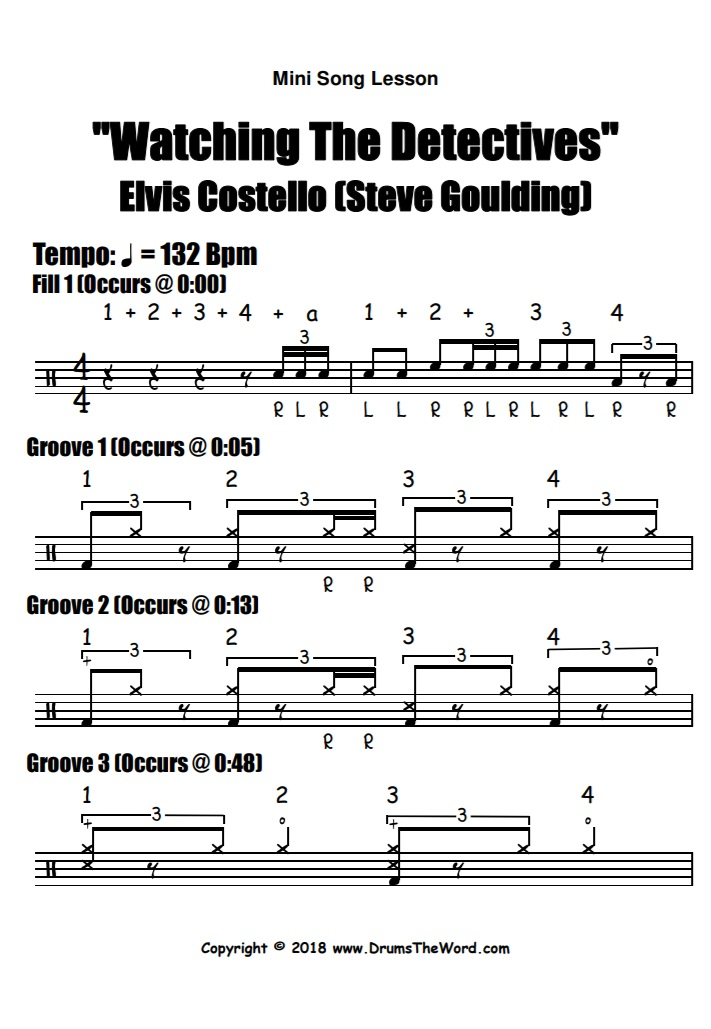 """""""Watching The Detectives"""" - (Elvis Costello) Full Song Video Drum Lesson Notation Chart Transcription Sheet Music Drum Lesson"""