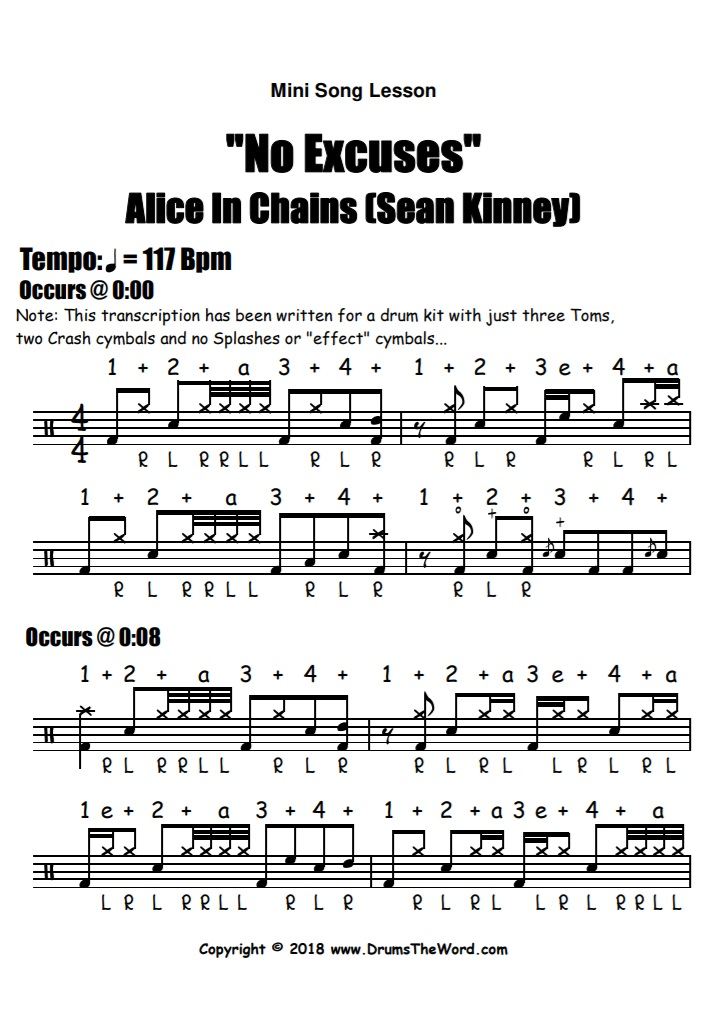 """""""No Excuses"""" - (Alice In Chains) Full Song Video Drum Lesson Notation Chart Transcription Sheet Music Drum Lesson"""