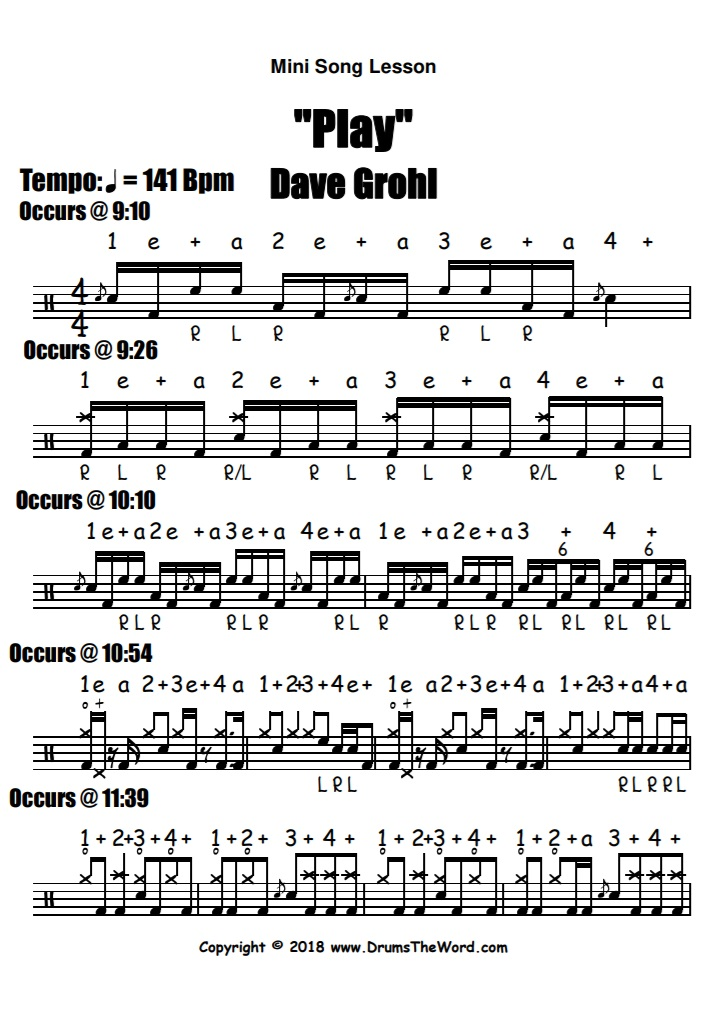 """""""Play"""" - (Dave Grohl) Full Song Video Drum Lesson Notation Chart Transcription Sheet Music Drum Lesson"""