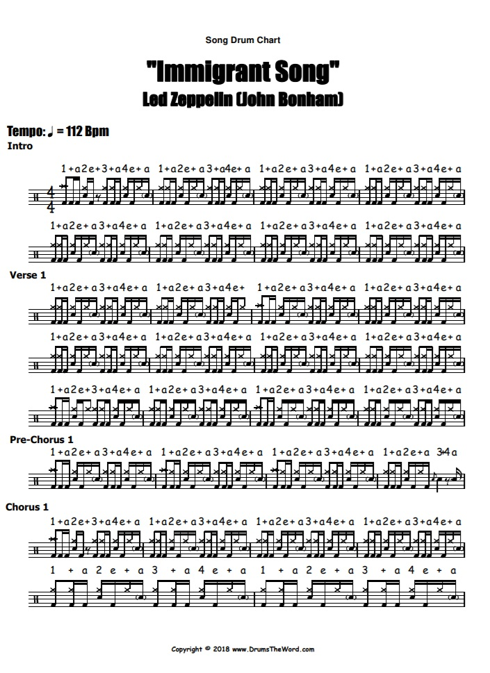 """""""Immigrant Song"""" - (Led Zeppelin) Full Song Video Drum Lesson Notation Chart Transcription Sheet Music Drum Lesson"""