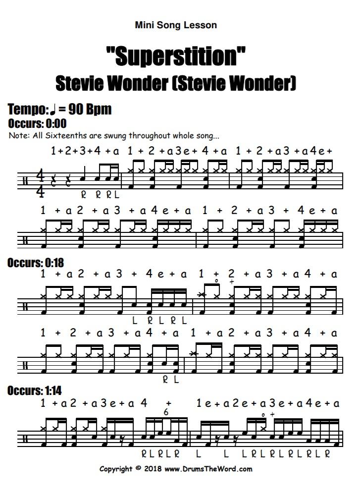 """Superstition"" - (Stevie Wonder) Full Song Video Drum Lesson Notation Chart Transcription Sheet Music Drum Lesson"