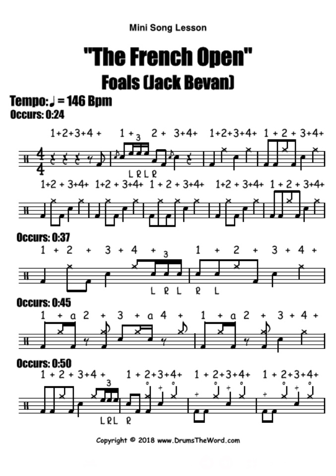 """""""The French Open"""" - (Foals) Mini Song Video Drum Lesson Notation Chart Transcription Sheet Music Drum Lesson"""