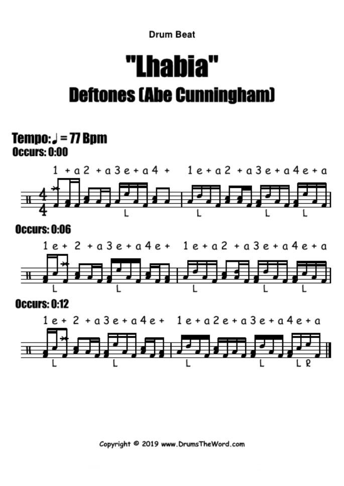 """""""Lhabia"""" - (Deftones) Drum Beat Groove Video Drum Lesson Notation Chart Transcription Sheet Music Drum Lesson"""