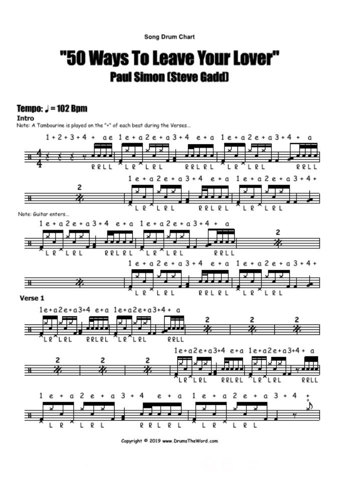 """""""50 Ways To Leave Your Lover"""" - (Paul Simon) Full Song Video Drum Lesson Notation Chart Transcription Sheet Music Drum Lesson"""