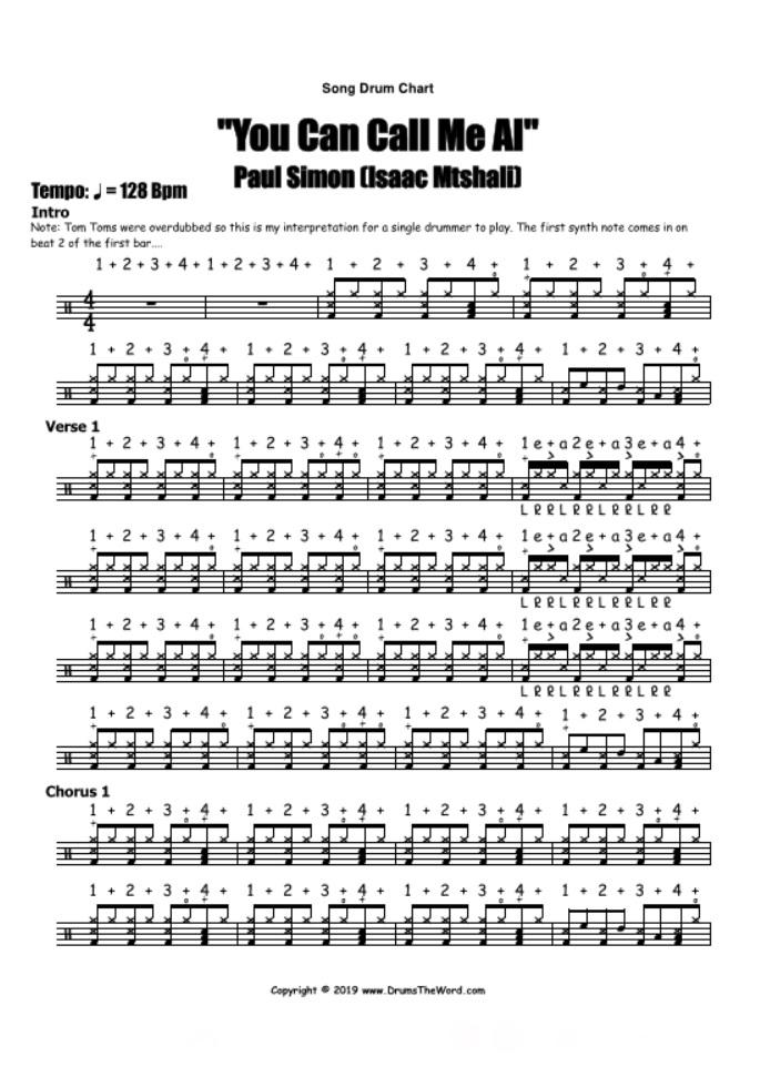 """You Can Call Me Al"" - (Paul Simon) Full Song Video Drum Lesson Notation Chart Transcription Sheet Music Drum Lesson"