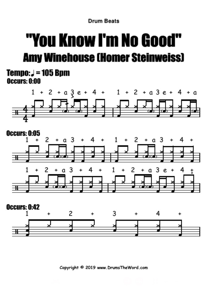 """""""You Know I'm No Good"""" - (Amy Winehouse) Drum Beats Grooves Song Video Drum Lesson Notation Chart Transcription Sheet Music Drum Lesson"""