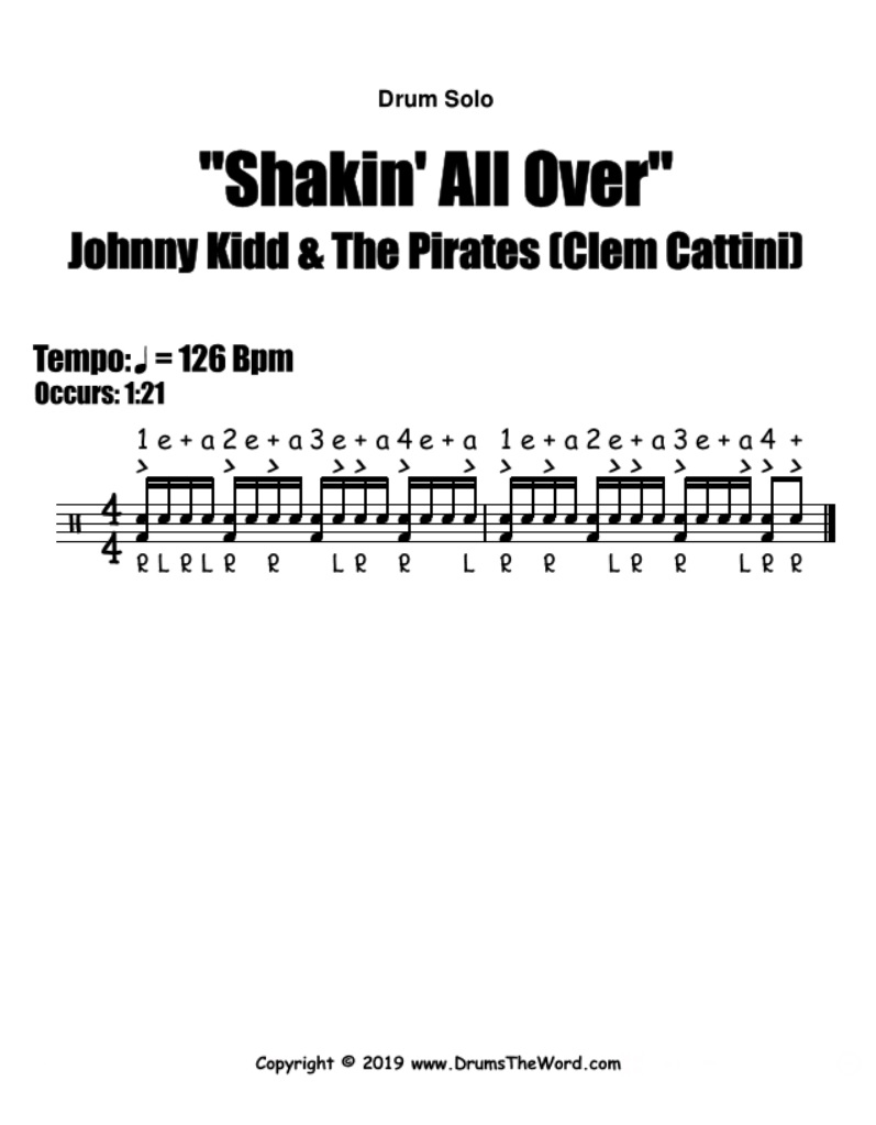 """""""Shakin' All Over"""" - (Johnny Kidd & The Pirates) Drum Fill Solo Song Video Drum Lesson Notation Chart Transcription Sheet Music Drum Lesson"""