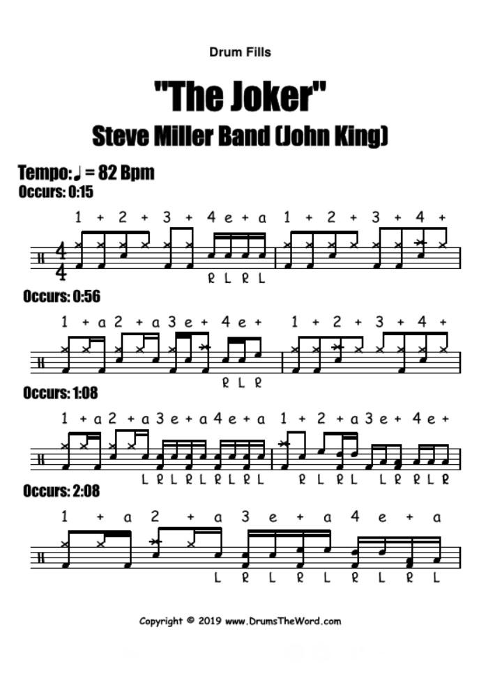"""""""The Joker"""" - (Steve Miller Band) Drum Fills Licks Song Video Drum Lesson Notation Chart Transcription Sheet Music Drum Lesson"""