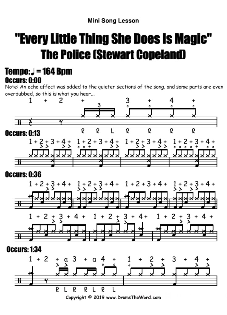 """""""Every Little Thing She Does Is Magic"""" - (The Police) Mini Song Video Drum Lesson Notation Chart Transcription Sheet Music Drum Lesson"""