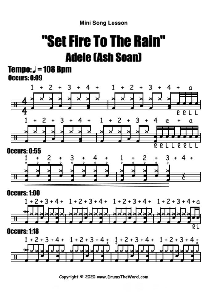 """Set Fire To The Rain"" - (Adele) Mini Song Lesson Video Drum Lesson Notation Chart Transcription Sheet Music Drum Lesson"