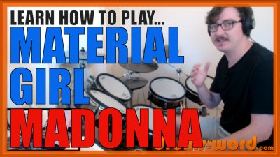 """""""Material Girl"""" - (Madonna) Full-Song Video Drum Lesson Notation Chart Transcription Sheet Music Drum Lesson"""