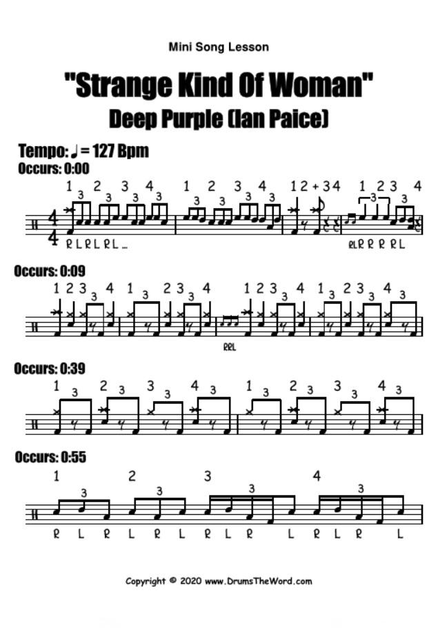 """Strange Kind Of Woman"" - (Deep Purple) Mini Song Lesson Video Drum Lesson Notation Chart Transcription Sheet Music Drum Lesson"