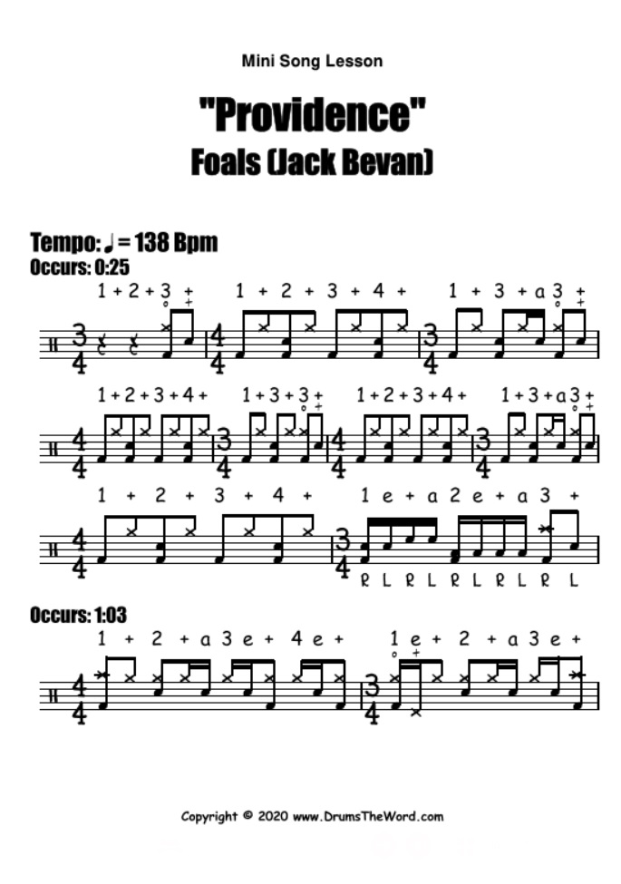 """Providence"" - (Foals) Mini Song Lesson Video Drum Lesson Notation Chart Transcription Sheet Music Drum Lesson"