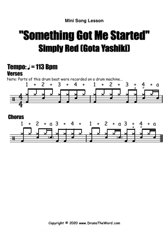"""""""Something Got Me Started"""" - (Simply Red) Mini Song Lesson Video Drum Lesson Notation Chart Transcription Sheet Music Drum Lesson"""